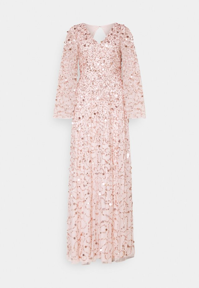 ALL OVER 3D EMBELLISHED DRESS WITH BELL SLEEVE - Occasion wear - pearl pink