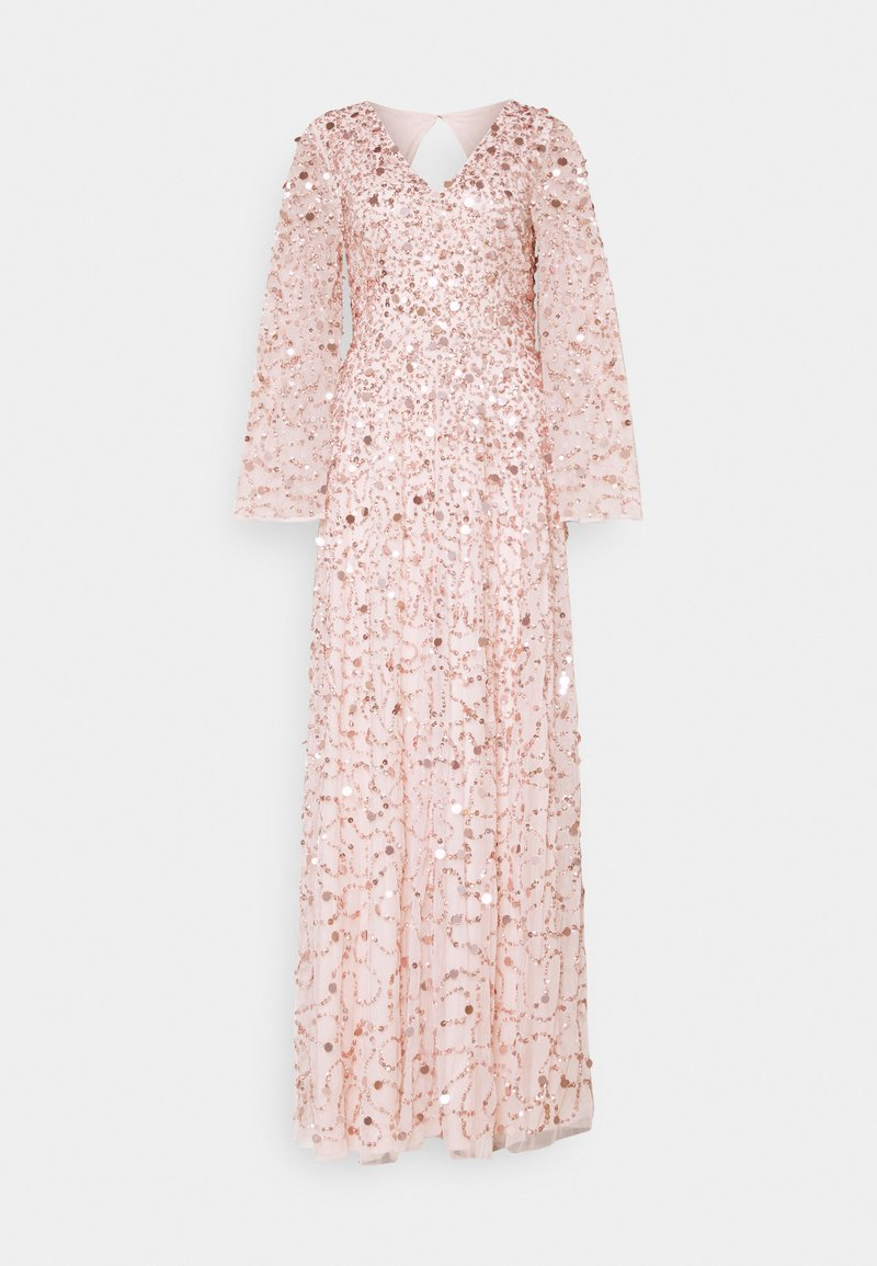 Maya Deluxe - ALL OVER 3D EMBELLISHED DRESS WITH BELL SLEEVE - Abito da sera - pearl pink