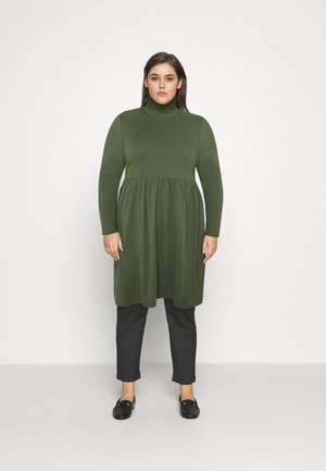 SOFT TOUCH HIGHNECK SMOCK DRESS - Day dress - dark khaki