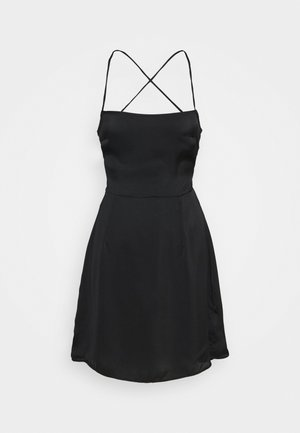 CARE LACE UP BACK MINI DRESS WITH NARROW STRAPS - Cocktailjurk - black