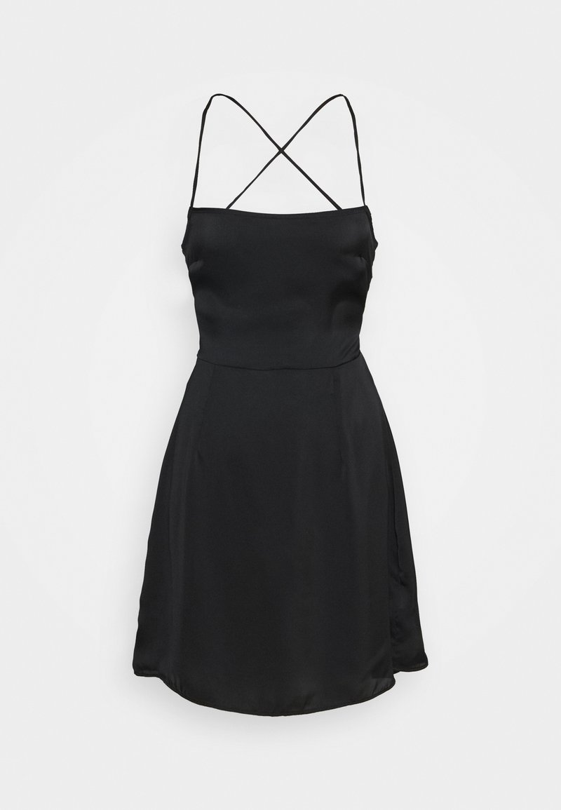 Glamorous - CARE LACE UP BACK MINI DRESS WITH NARROW STRAPS - Cocktail dress / Party dress - black