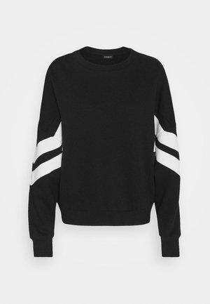 OVERSIZED STRIPE SLEEVE SWEATSHIRT - Sweater - black/white