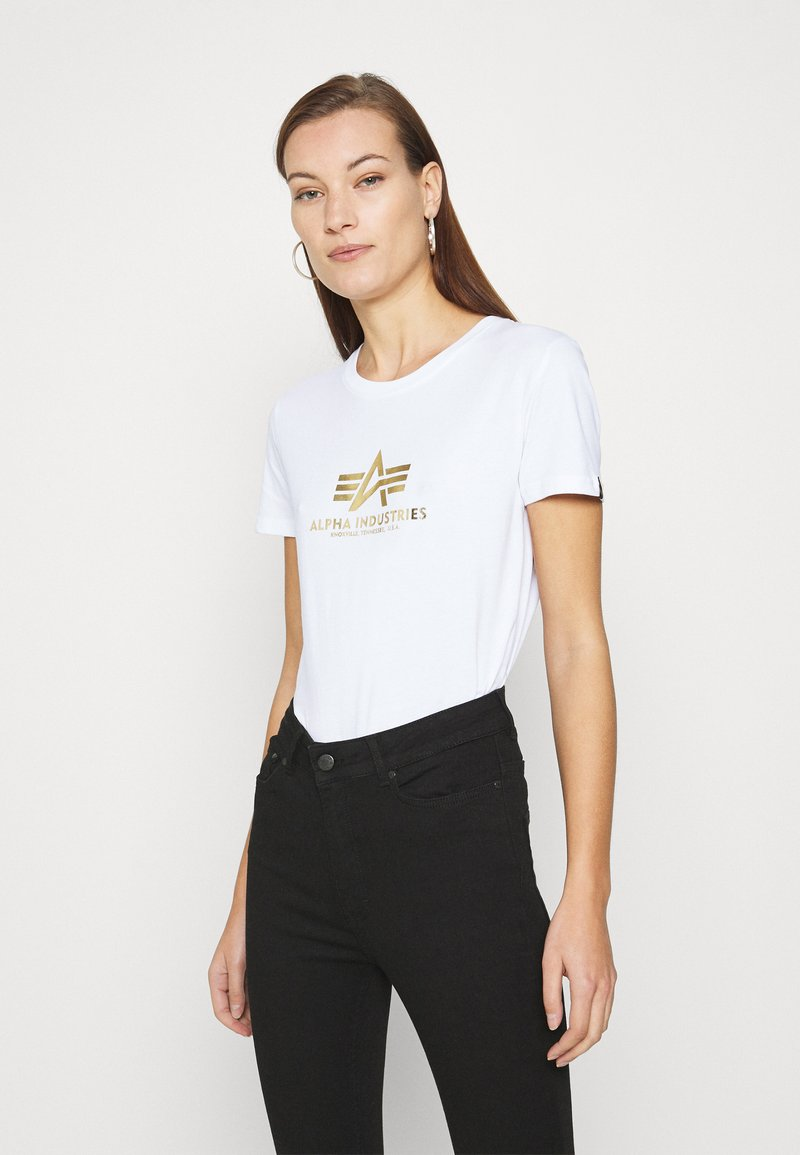 Alpha Industries - NEW FOIL PRINT - Print T-shirt - white/yellow gold