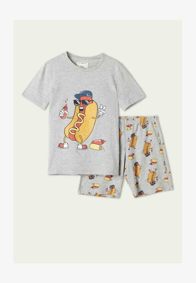 SET - Nattøj bukser - grigio mel.chiaro st.hot dog