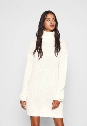 ROLL NECK BASIC DRESS - Abito in maglia - off white