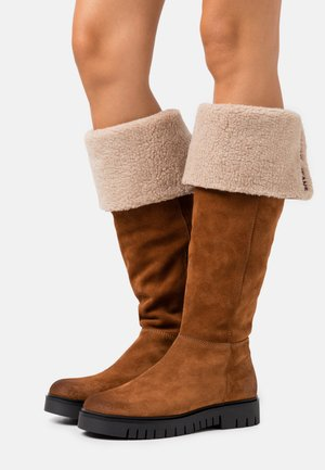 WARM LINED LONG BOOT - Vysoká obuv - winter cognac