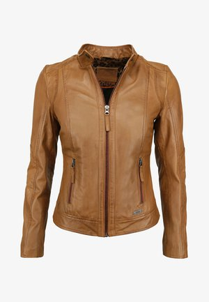 MIT STEHKRAGEN - Leather jacket - cognac