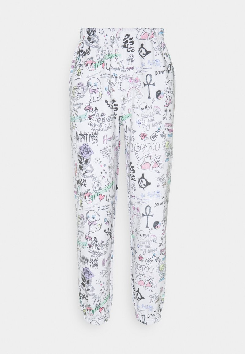 NEW girl ORDER - SCRIBBLE JOGGER - Tracksuit bottoms - white