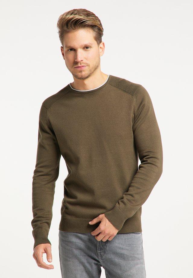 Pullover - militär oliv hellblau