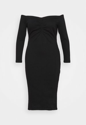 WAY STRETCH BARDOT BODYCON DRESS WITH TUMMY PANEL - Vestito elegante - black