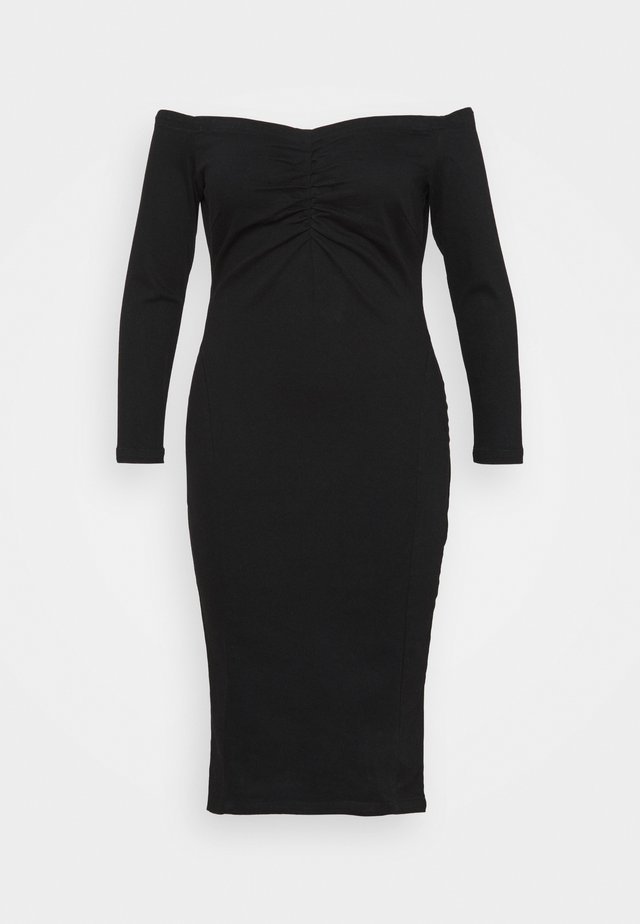WAY STRETCH BARDOT BODYCON DRESS WITH TUMMY PANEL - Cocktail dress / Party dress - black