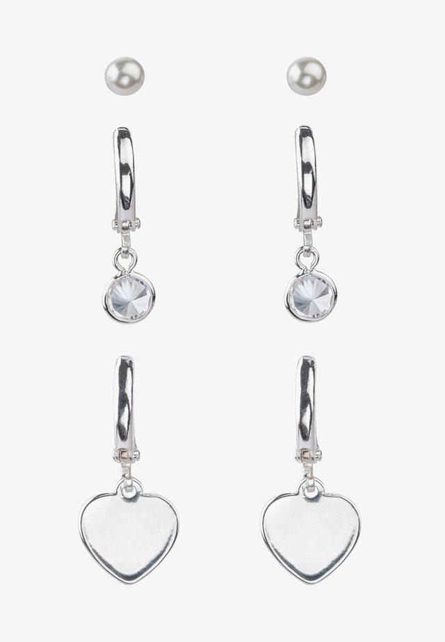 SET OF 3 - Earrings - silver