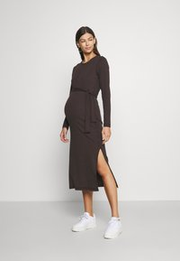 Missguided Maternity - MATERNITY RIB BELTED SIDE - Jumper dress - brown - 0