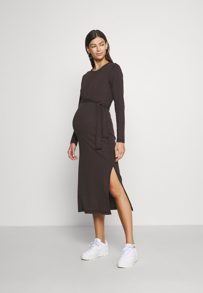 Missguided Maternity - MATERNITY RIB BELTED SIDE - Jumper dress - brown