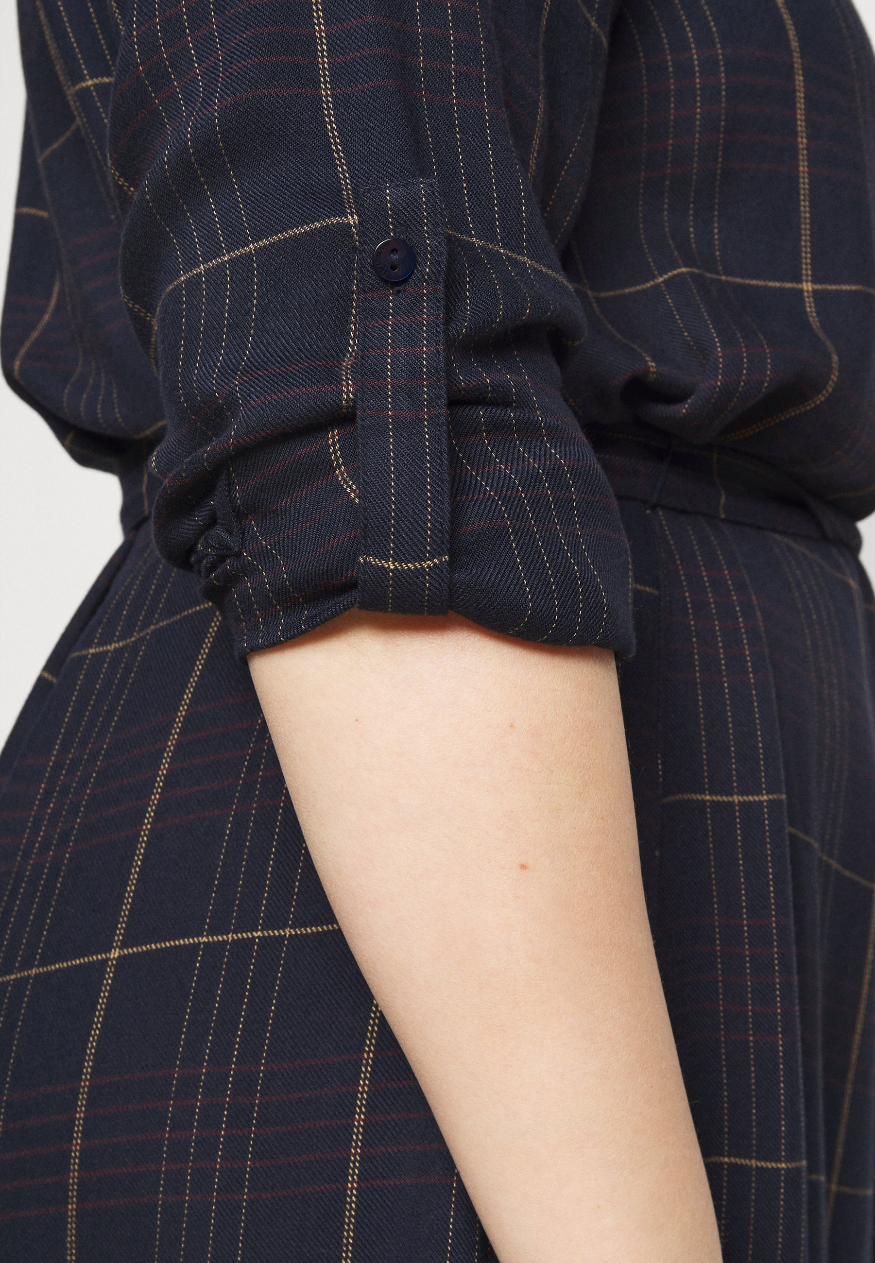 MY TRUE ME TOM TAILOR BELTED CHECKED DRESS Blusenkleid navy gipsy/camel/dunkelblau