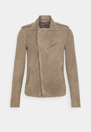 ALEXANDER BIKER - Leather jacket - schocked olive