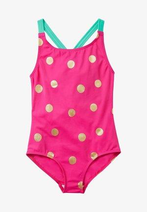 Swimsuit - fuchsienrosa/gold, getupft