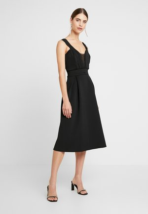 SHOULDER LAYERED MIDI DRESS - Vestito elegante - black