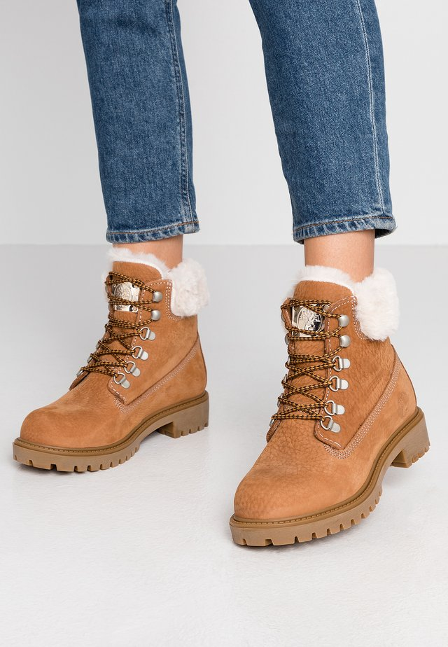 Lace-up ankle boots - cinnamon