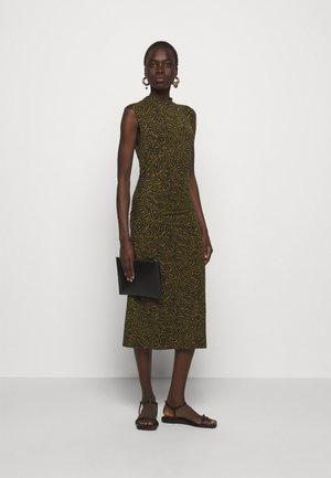 ABSTRACT SWIRL SHEER STRETCH DRESS - Maxi šaty - military/black