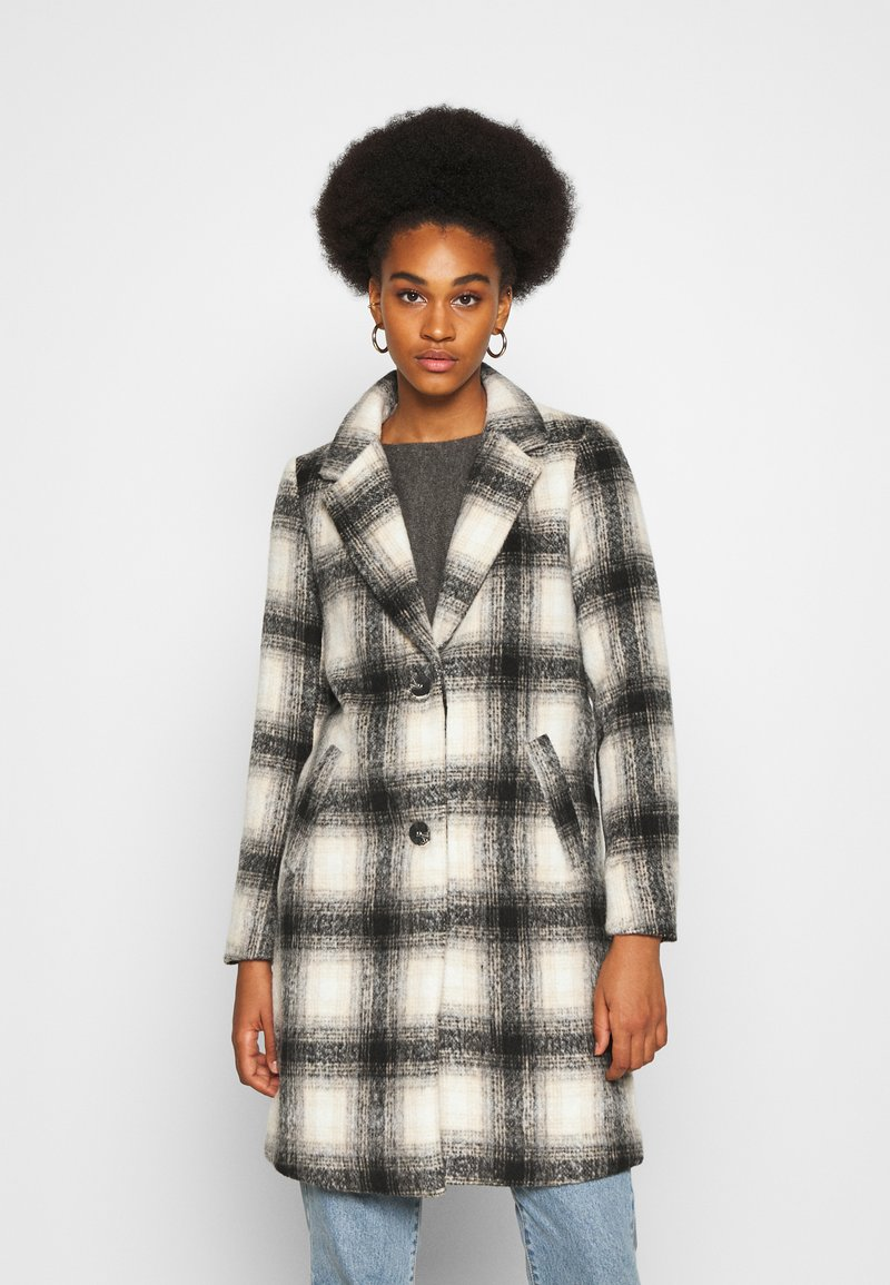 ONLY - ONLVERONICA CHECK COAT - Classic coat - pumice stone/black