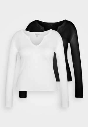 NOTCH NECK TEE 2 PACK - Long sleeved top - white