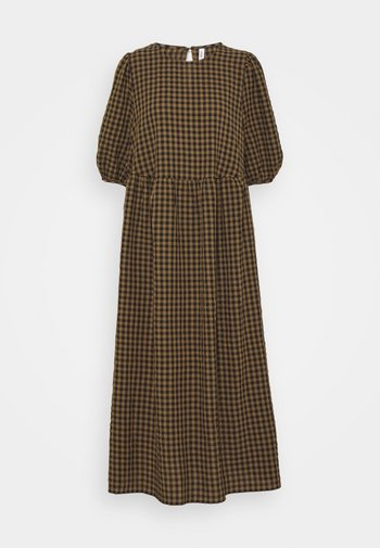 ONLYARITZA CHECK CALF DRESS - Vestito lungo - tigers eye