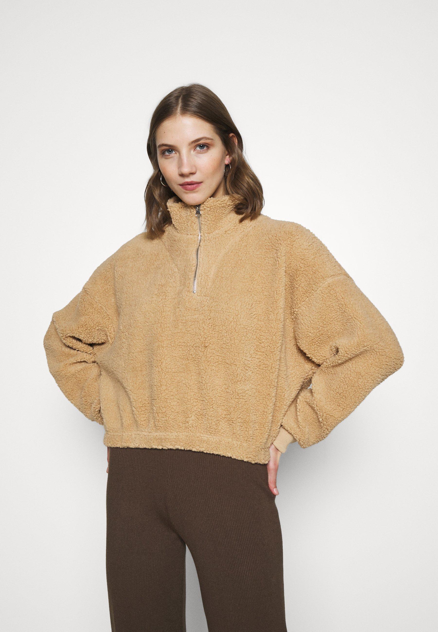 Women TEDDY ZIP NECK CROPPED - Sweatshirt