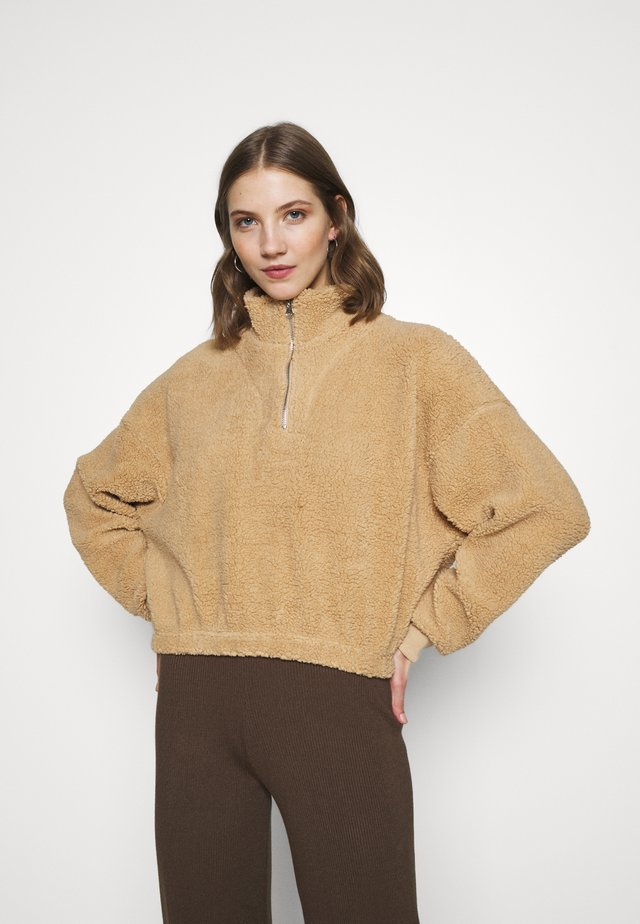 TEDDY ZIP NECK CROPPED - Sweatshirt - stone brown
