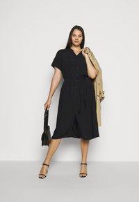 ONLY Carmakoma - CARTUKZU CALF SHIRT DRESS - Shirt dress - black - 1