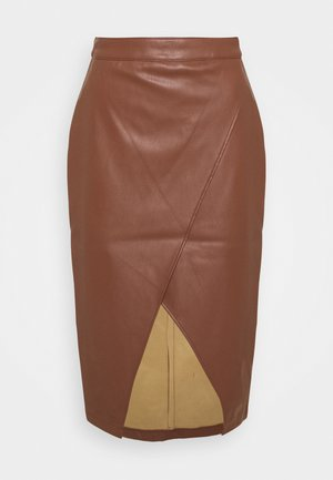 OVERLAP FRONT SKIRT - Pencil skirt - brown