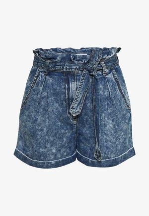 VICLASH - Denim shorts - medium blue denim/stone wash