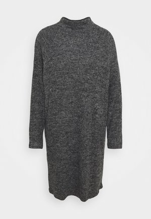 VMTAMMI HIGH NECK DRESS - Stickad klänning - dark grey melange