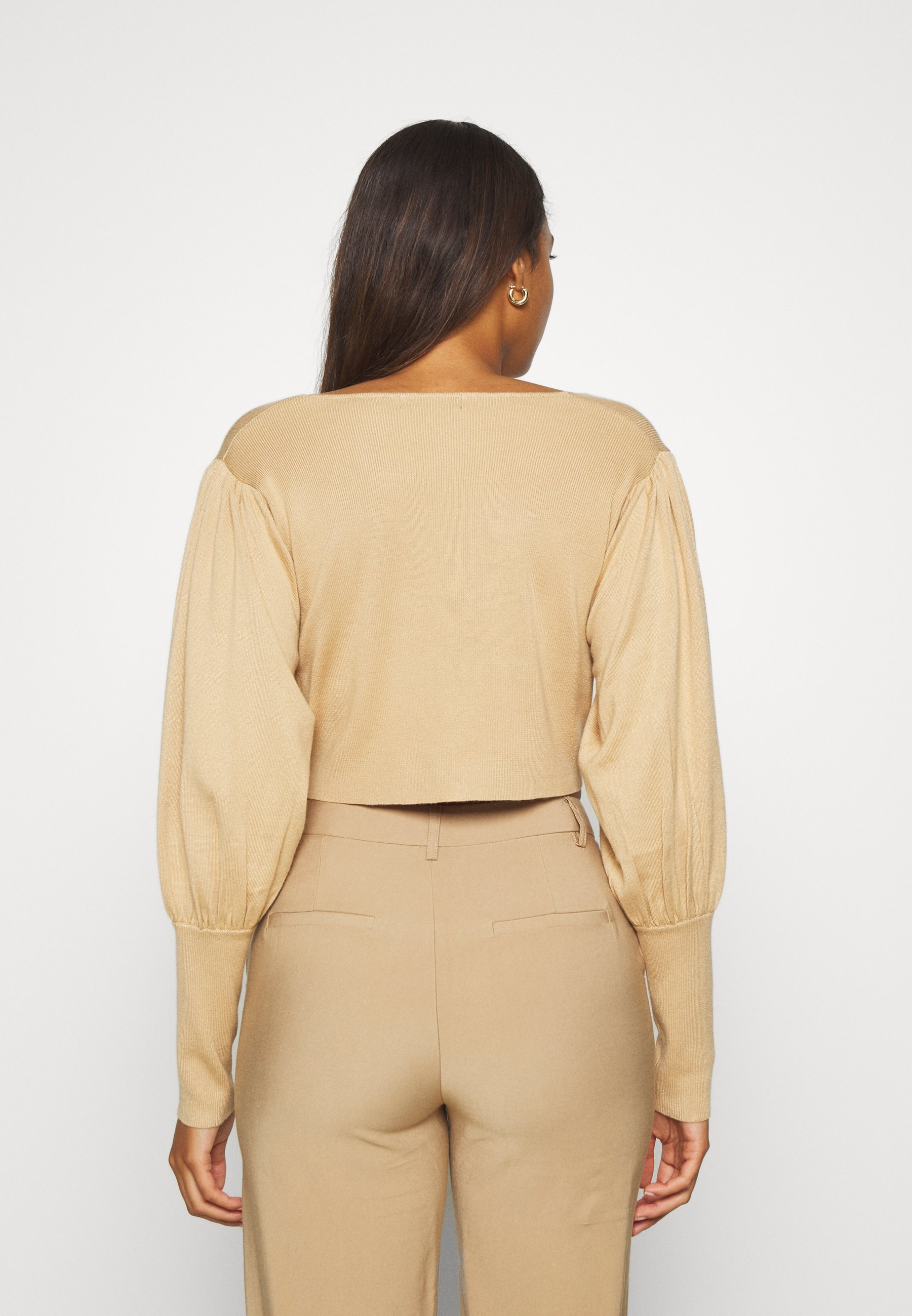 Missguided BALLOON SLEEVE CROPPED CARDIGAN - Vest - tan - Dames jas Actueel