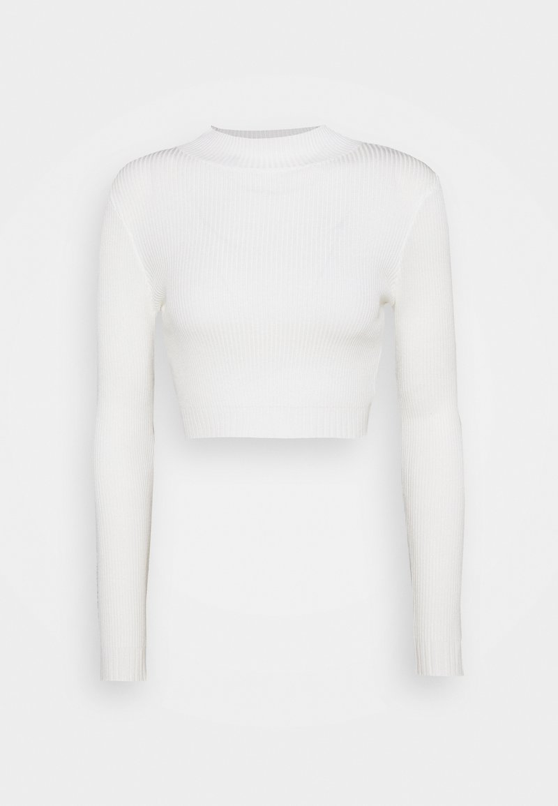 Missguided Petite - HIGH NECK CROP - Jumper - white
