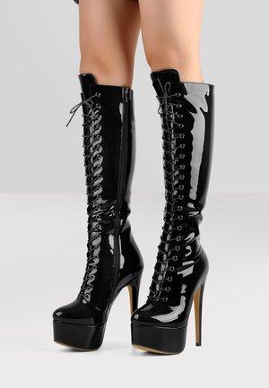 Stivali con i tacchi - metallic black