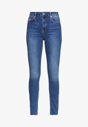 HIGH WAIST RAW - Jeans Skinny Fit - mid blue