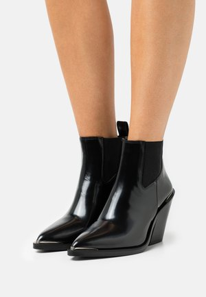 SHOES - High heeled ankle boots - black