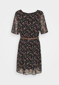 VMSYLVIA BELT SHORT DRESS - Denní šaty - black/rose flowers
