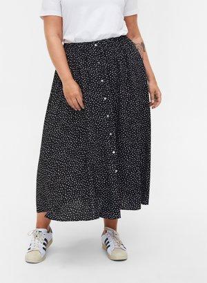 MIT KNÖPFEN UND PUNKTEN - A-line skirt - black