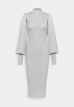 PUFF SLEEVE MIDI DRESS - Vestido de punto - silver