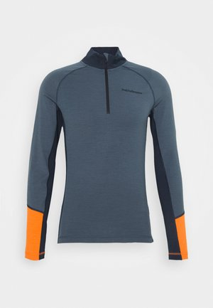 MAGIC HALF ZIP - Langærmede T-shirts - blue steel