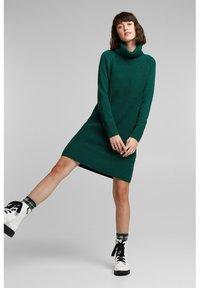 edc by Esprit - COWL NECK - Jumper dress - dark teal green - 1
