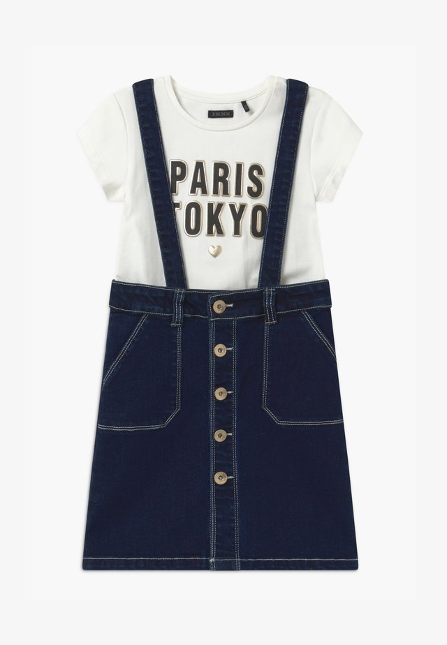 PINAFORE TOKYOLOGO SET - A-line skirt - blue denim/off-white