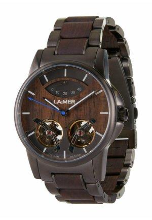 LAIMER AUTOMATIK HOLZUHR - ANALOGE ARMBANDUHR ADAM - Cronografo - black/brown