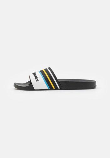 ANSLEY  - Mules - black/white/azzure blue