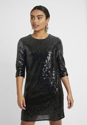 ONLMANILLA 3/4 DRESS - Cocktail dress / Party dress - dark grey/bottom black sequence