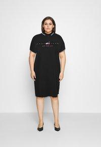 Tommy Jeans Curve - MODERN LOGO POLO DRESS - Day dress - black - 0
