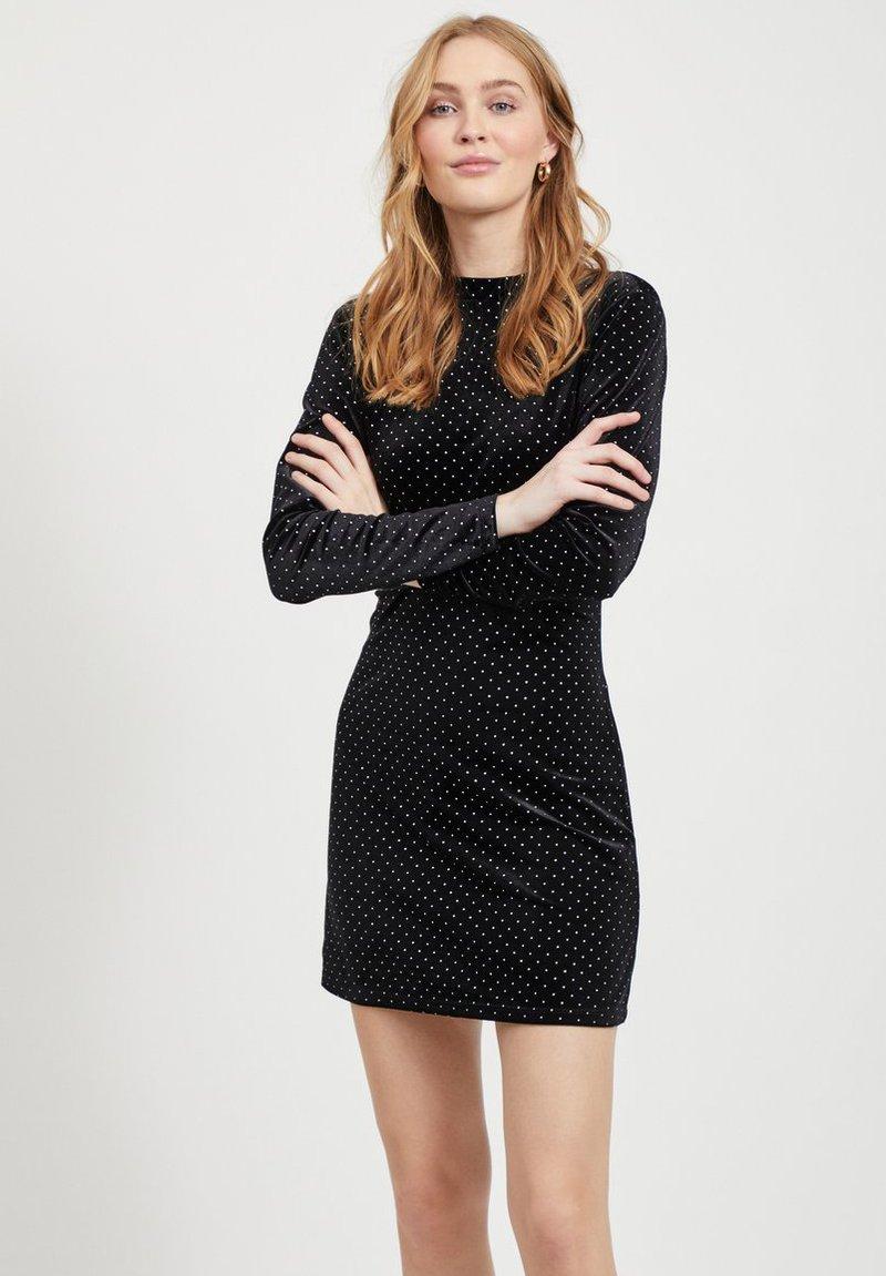 Vila - MIT LANGEN ÄRMELN GEPUNKTETES - Vestito elegante - black