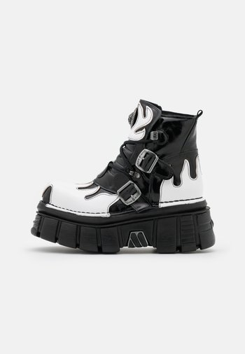 UNISEX - Lace-up ankle boots - black/white